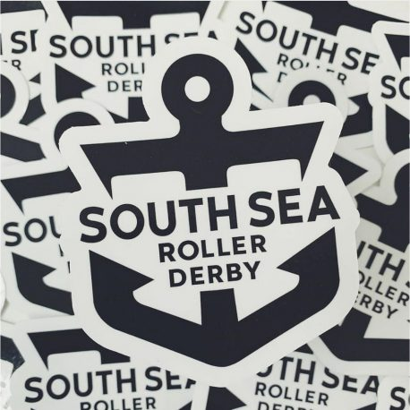 close up of a pile South Sea Roller Derby Black Anchor Logo with white background